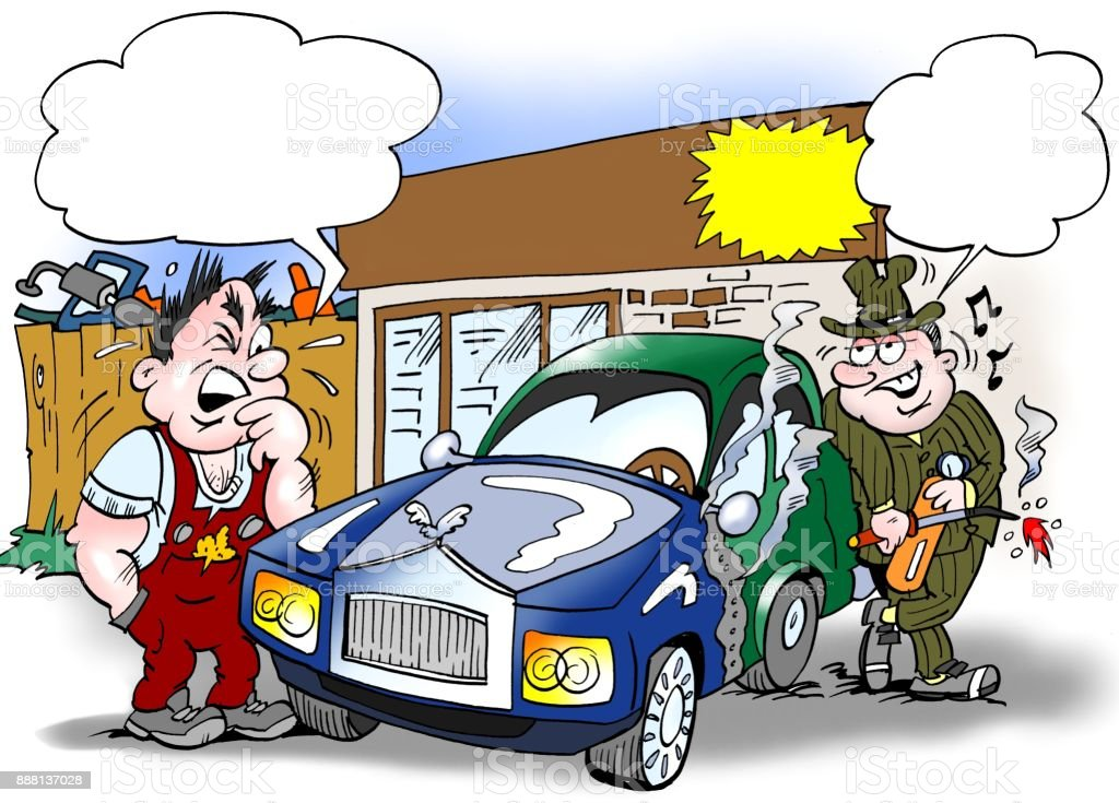 Cartoon Illustration Of A Seller And A Buyer Looking At An Older Car ...