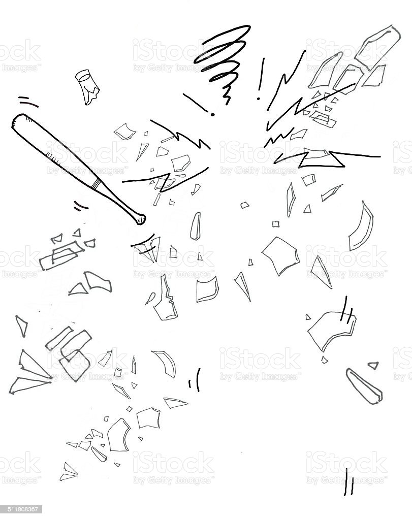 Cartoon illustration of broken glass pieces and baseball bat vector art illustration
