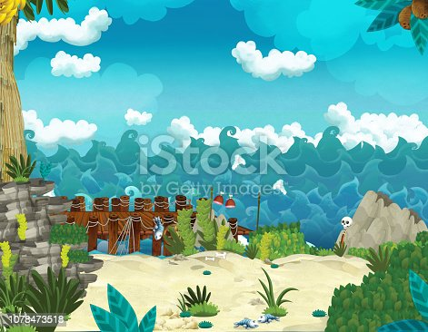 Cartoon illustration - pirates on the wild island - illustration for the children