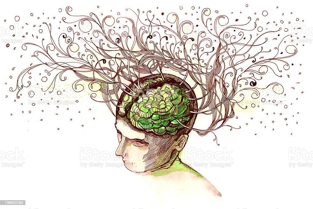 A cartoon image of a vivid brain royalty-free stock vector art