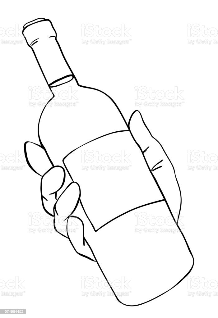 It is a picture of Playful Bottle Cartoon Drawing