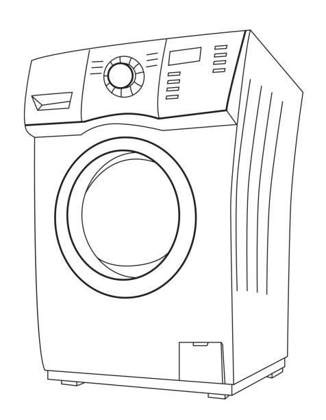 Washing Machine Drawing ~ Royalty free wash drawing clip art vector images