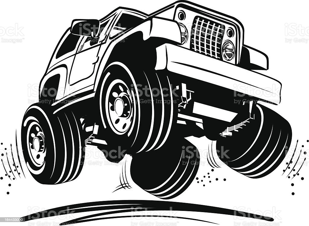 Cartoon jeep vector art illustration