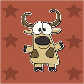 Vector illustation of a cartoon longhorn on a burnt orange square background with rust colored stars.