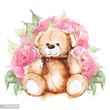 Cartoon lovely Bear toy Saint Valentine's day rose peony flower art isolated.