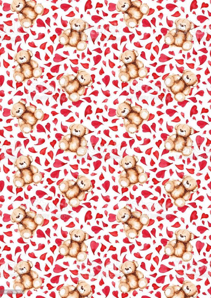 Cartoon Lovely Teddy Bear Heart Saint Valentines Day Background