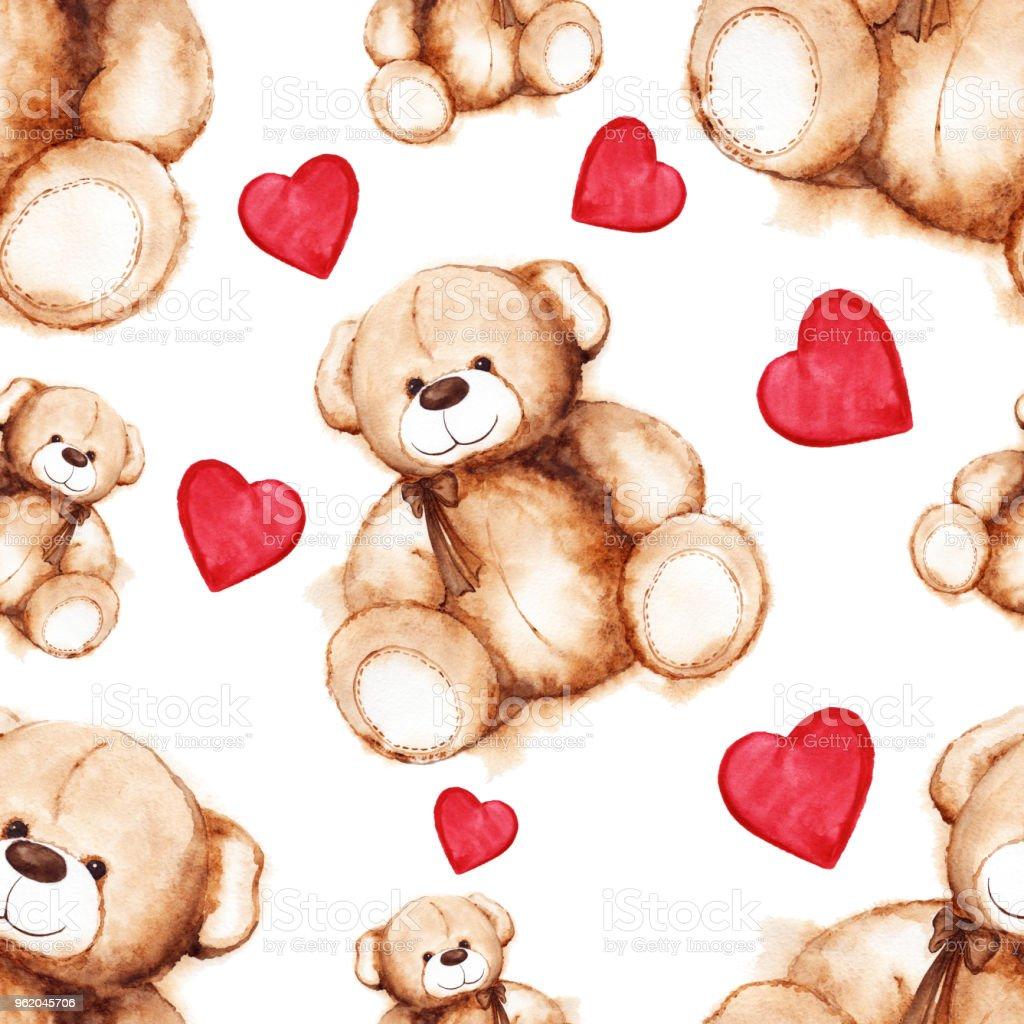 Cartoon Lovely Teddy Bear Saint Valentines Day Seamless Pattern