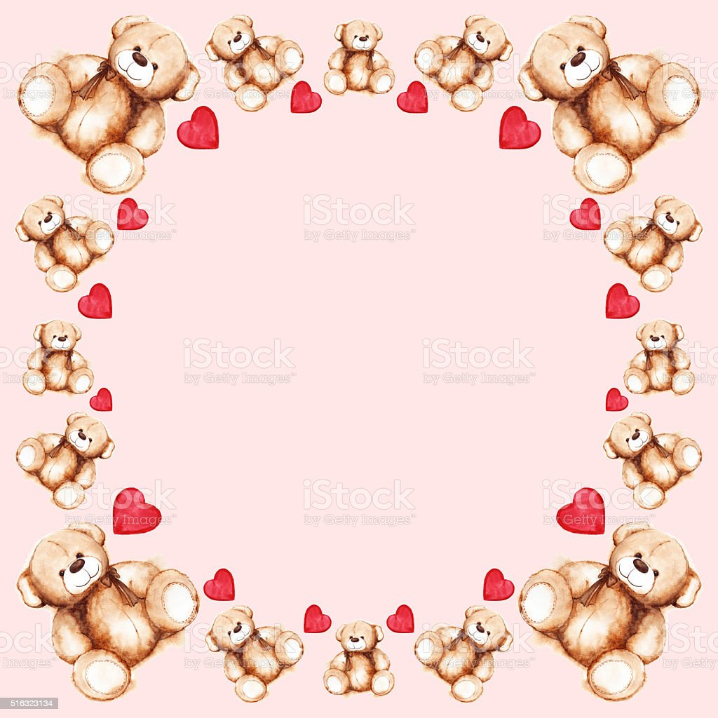 Cartoon Lovely Teddy Bear Toy Saint Valentines Day Frame Stock ...