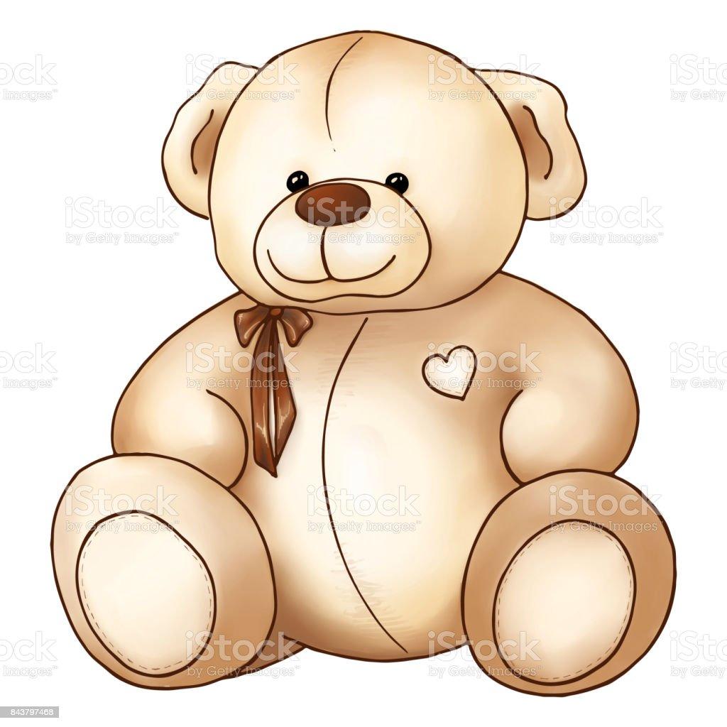 Comic Hubschen Teddybar Spielzeug Valentinstag Isoliert Stock Vektor