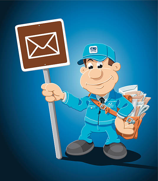 "Cartoon Mailman Post Office Sign ""Vector Illustration of a cartoon mailman, who is holding a post office sign. The background is on a separate layer, so you can use the illustration on your own background. The colors in the .eps-file are ready for print (CMYK). Included files: EPS (v8) and Hi-Res JPG."" cartoon people sign stock illustrations"