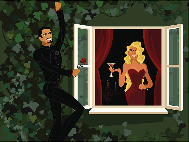 cartoon man holding rose outside woman's window - romeo and juliet stock illustrations, clip art, cartoons, & icons