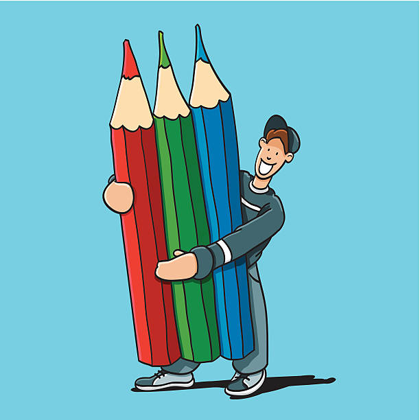 "Cartoon Man Holding Three Colored Pencils ""Sketchy vector illustration of a Cartoon Man, who holds three Colored Pencils (Red, Green and Blue). Line art, color and background are on separate layers, so you also can use the illustration on your own background. The colors in the .eps-file are ready for print (CMYK). Included files: EPS (v8) and Hi-Res JPG."" doodle NOT black and white stock illustrations"