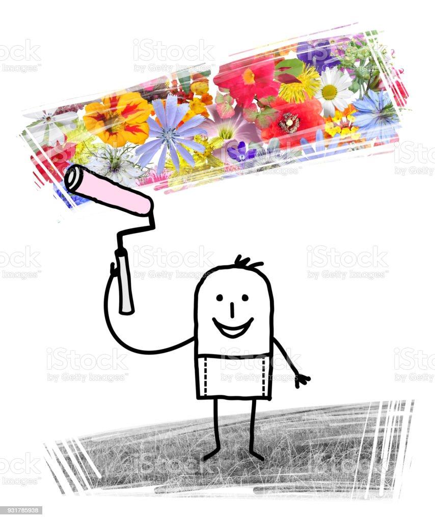 Cartoon Man Painting Spring Flowers After Winter Stock Vector Art