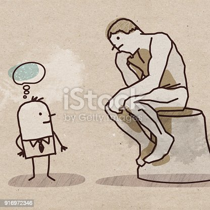 Cartoon Man Watching the Rodin's Thinker