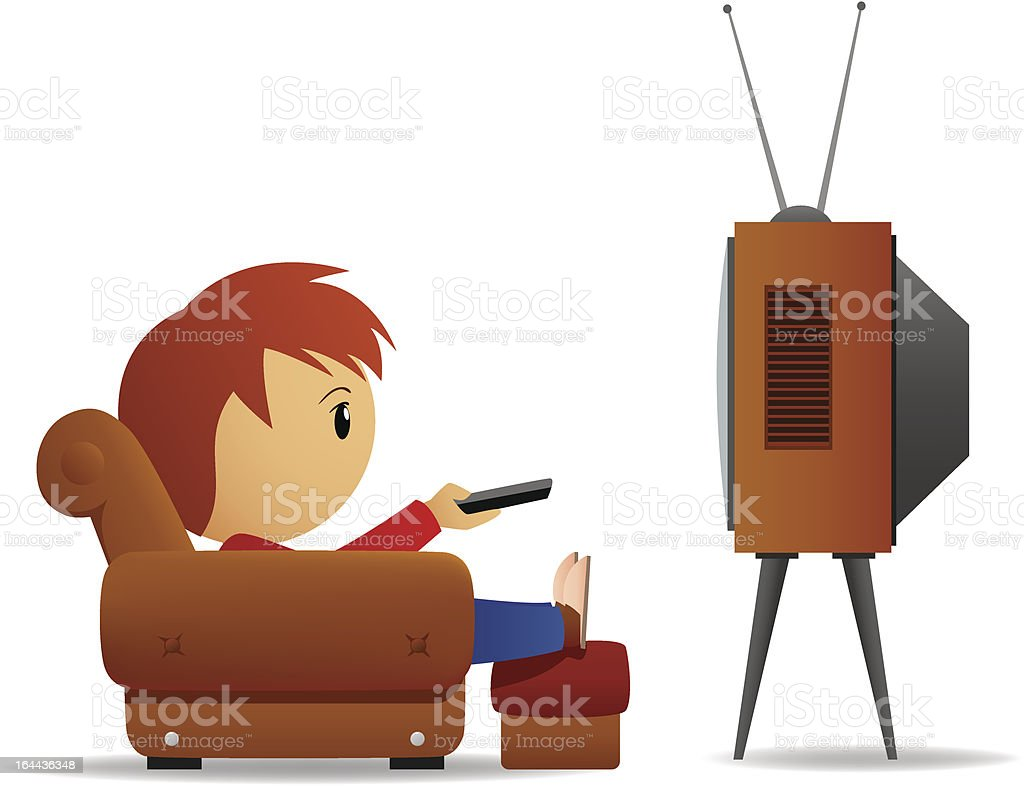 Cartoon Man With Remote Watch Tv In Armchair Stock Vector