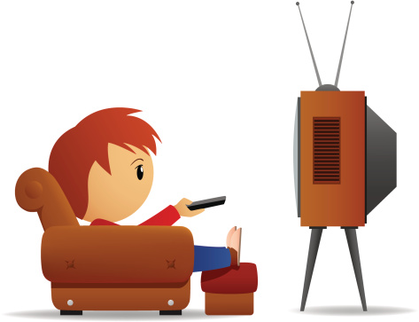 Cartoon man with remote watch TV in armchair