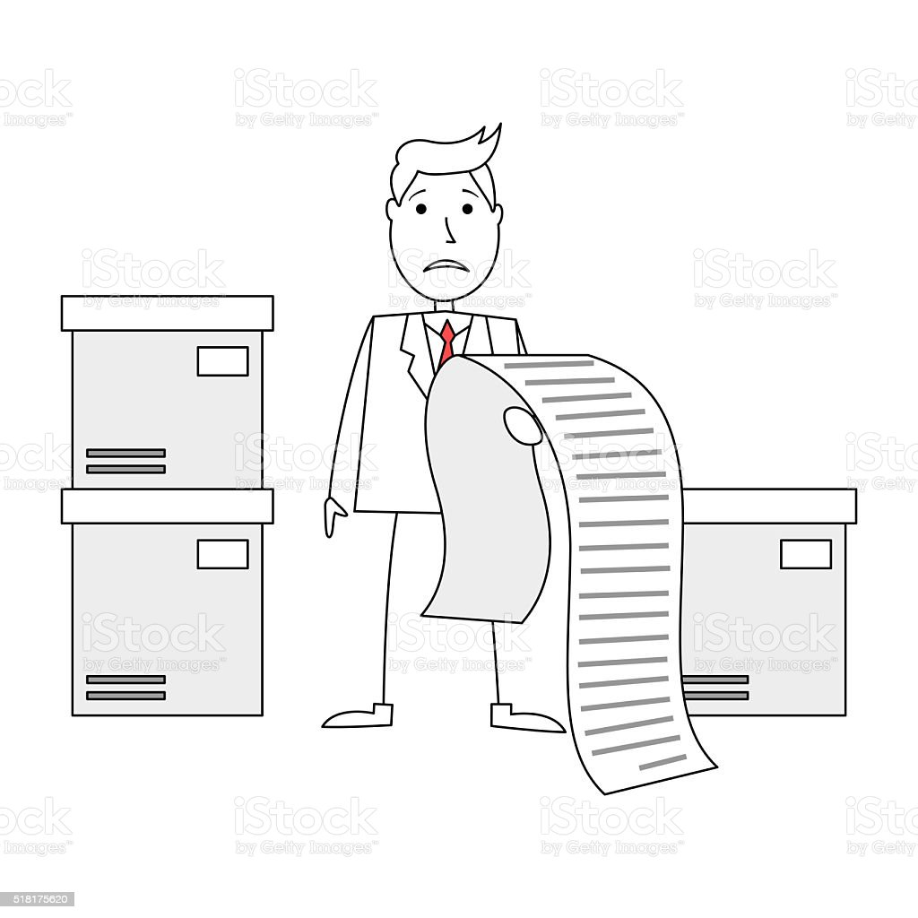 comic mann besorgt der riesigen rechnung stock vektor art. Black Bedroom Furniture Sets. Home Design Ideas