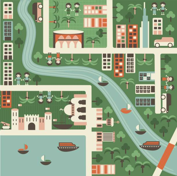 Dibujo Mapa de dubai - ilustración de arte vectorial