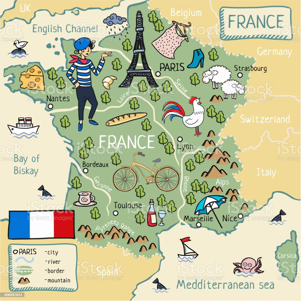 Map Of France Cartoon.Cartoon Map Of France Stock Vector Art More Images Of Art Istock