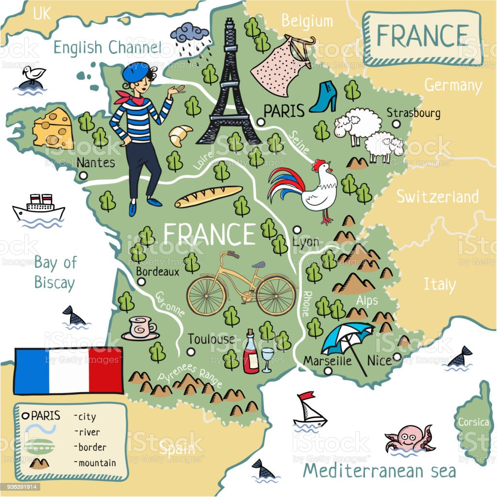 Map Of France In English.Cartoon Map Of France Stock Illustration Download Image Now Istock