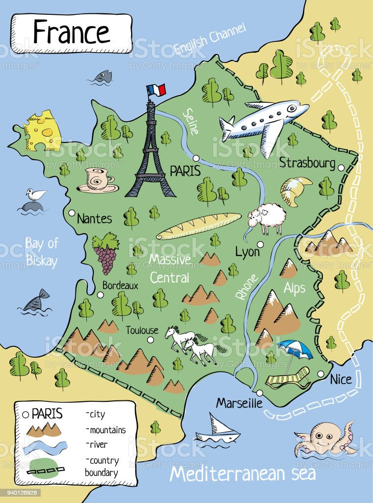 Mountains Of France Map.Cartoon Map Of France With Characters And Objects Stock Illustration