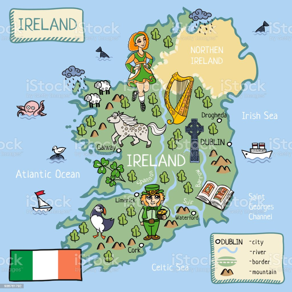 cartoon map of Ireland vector art illustration