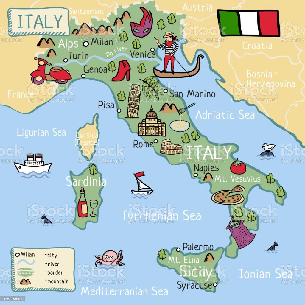 Carte France Italie Dessin.Carte De Dessin Anime De Litalie Vecteurs Libres De Droits