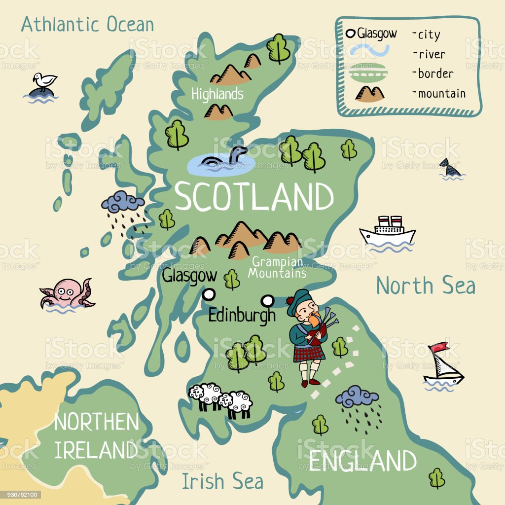 Cartoon Map Of Scotland Stock Illustration - Download Image Now on map of english channel, republic of ireland, edinburgh castle, map of united kingdom, northern ireland, map of ireland, map of philippines, isle of man, united states of america, william wallace, scottish highlands, map of european countries, map of british isles, map of jersey, united kingdom, map of shetland islands, loch ness, map of stonehenge, map of united states, map of world, map of uk, map of denmark, map of manchester, map of the low countries, map of austria, map of wales, map of rhine river, map of jordan, flag of scotland, map of alberta, great britain, scottish people,