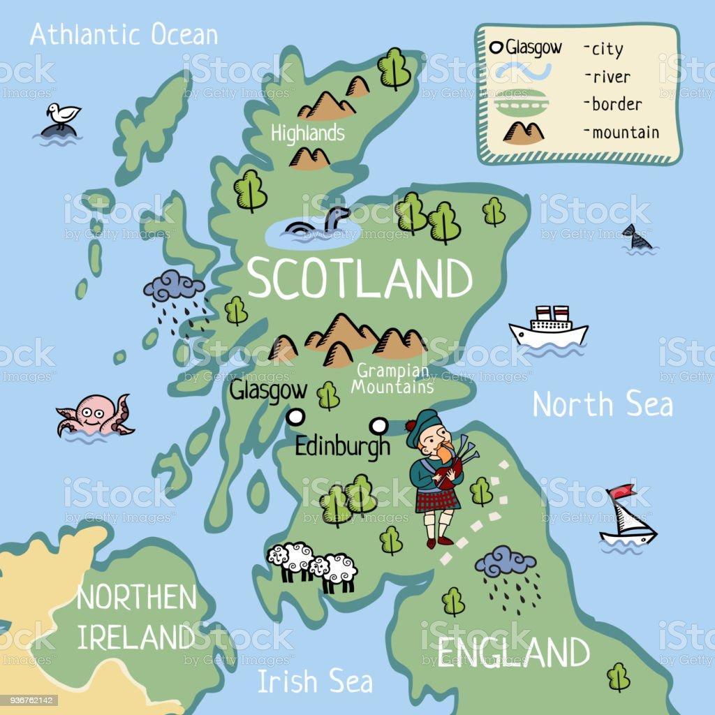 kaart van schotland Cartoon Kaart Van Schotland Stockvectorkunst en meer beelden van