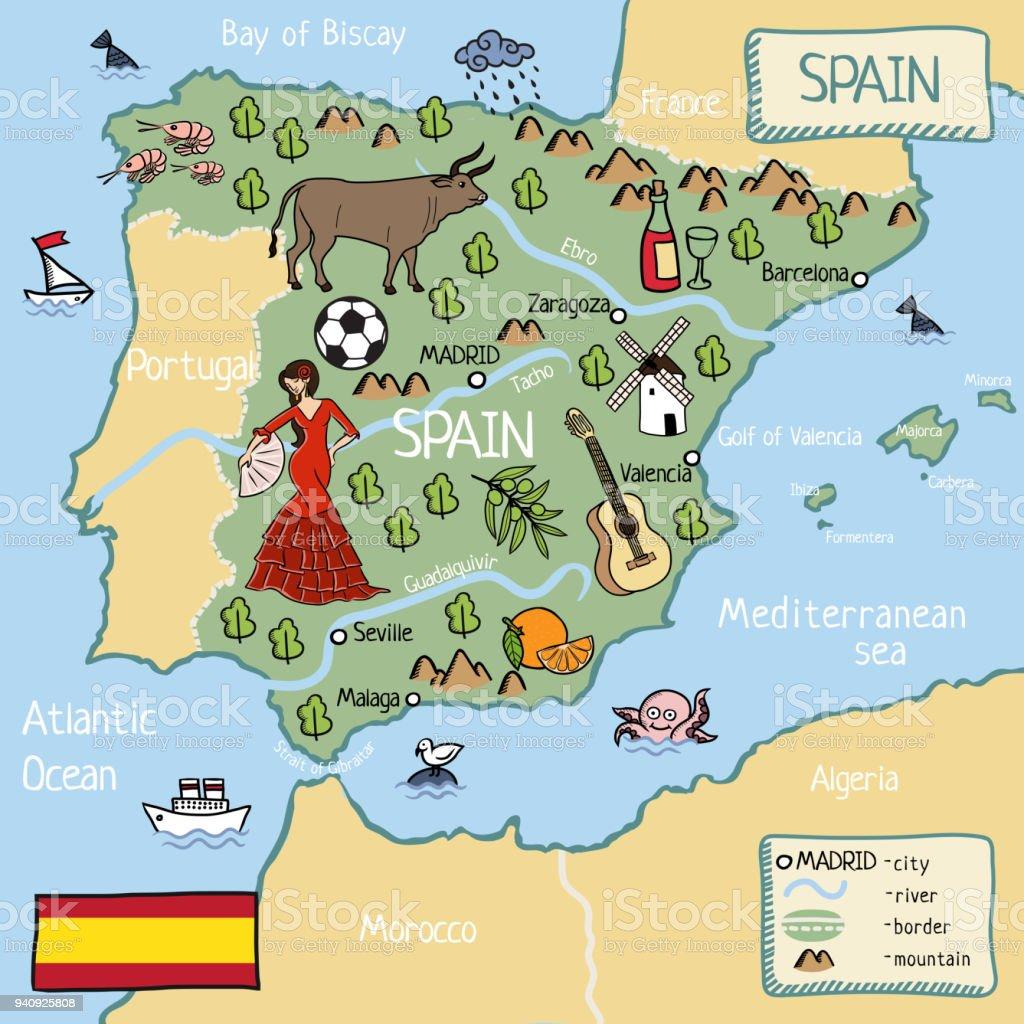 Karta Pa Spansk.Tecknad Karta Over Spanien Vektorgrafik Och Fler Bilder Pa Affisch