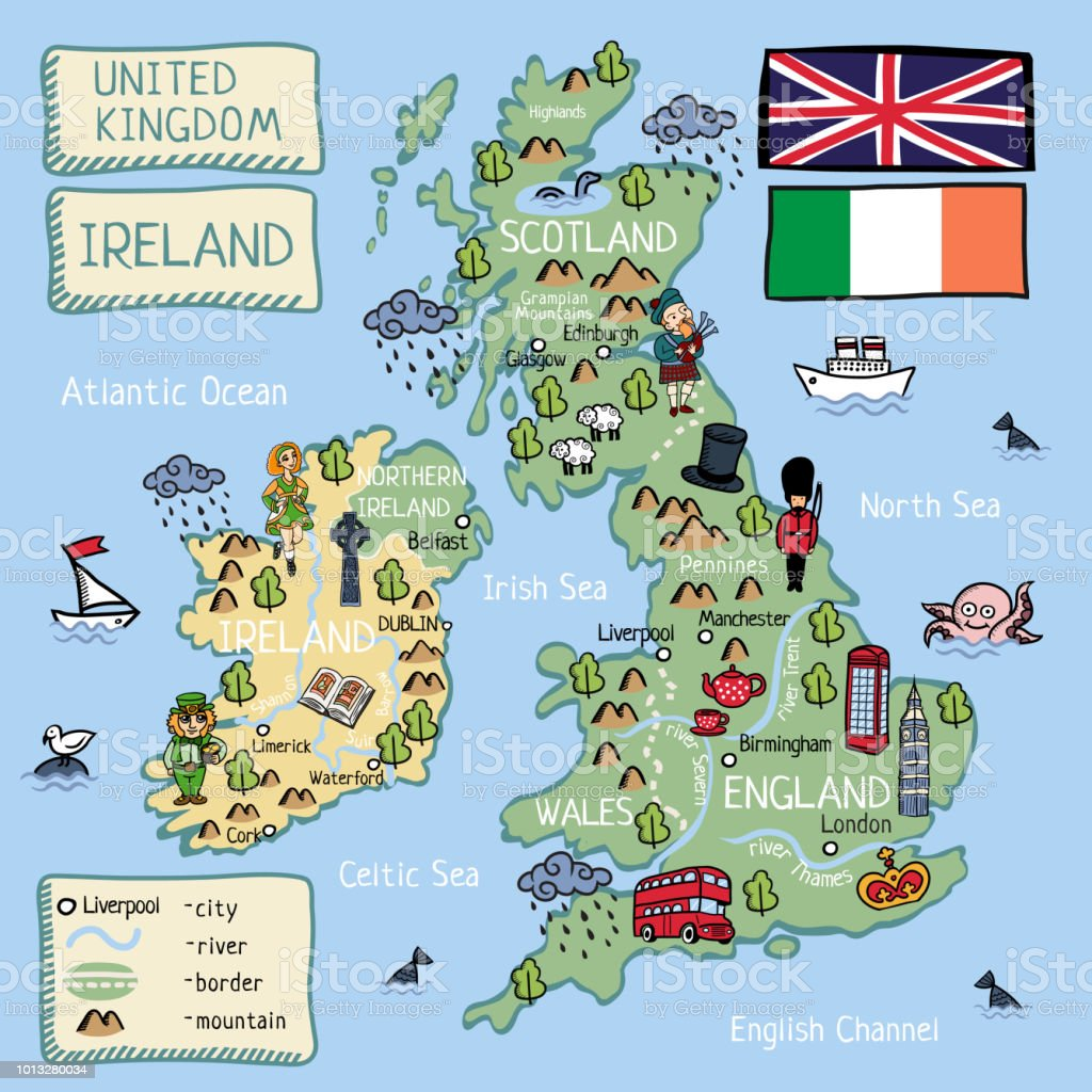 Cartoon  map of United Kingdom and Ireland with isolated objects and characters vector art illustration