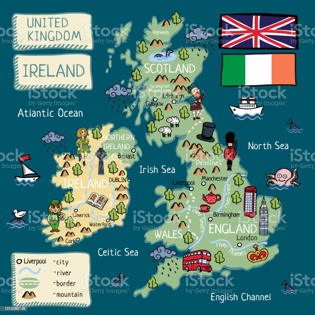 Cartoon Map Of United Kingdom And Ireland With Isolated Objects And