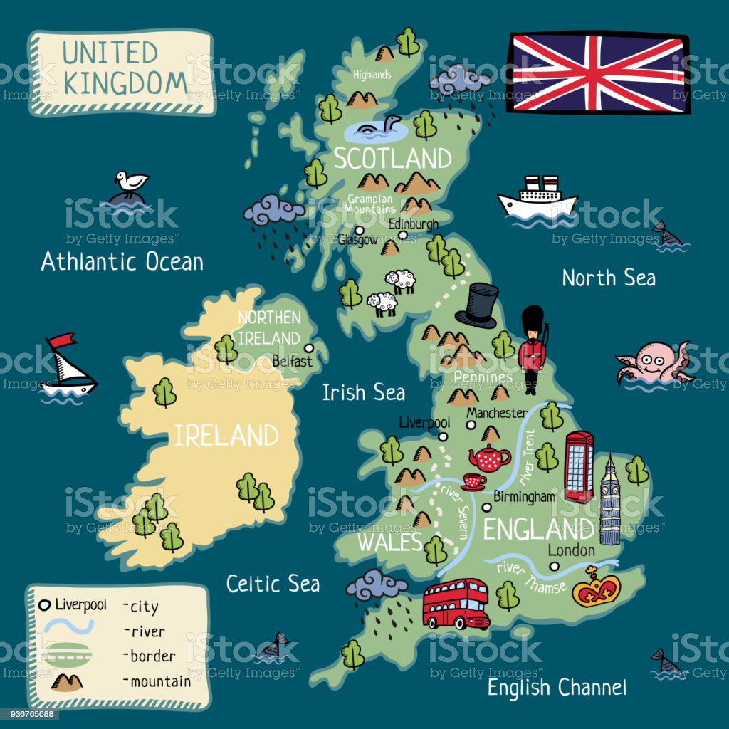 Map Of Ireland England.Cartoon Map Of United Kingdom England Scotland Wales North Ireland