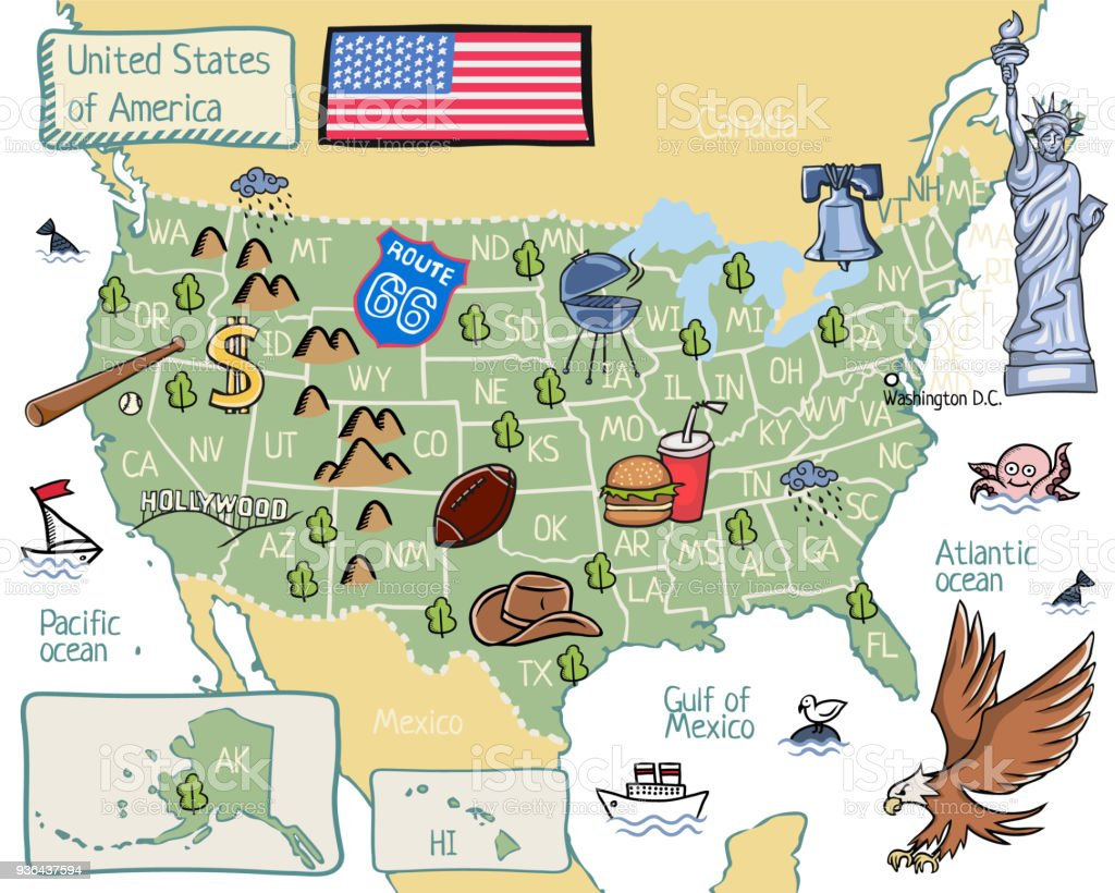Cartoon Map Of United States Of America Stock Vector Art More