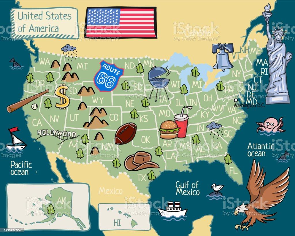 Cartoonkarte Der Vereinigten Staaten Von Amerika Stock Vektor Art ...