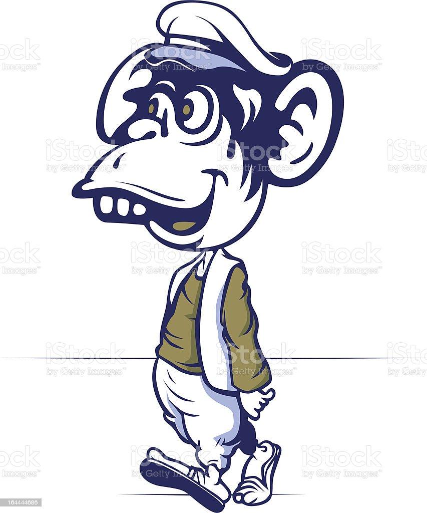 cartoon monkey walk royalty-free stock vector art