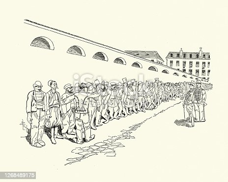 Vintage illustration of Cartoon, motley recruits lining up at the barracks, Victorian, French 19th Century. Potiron, Scenes de la vie de caserne, Georges Courteline