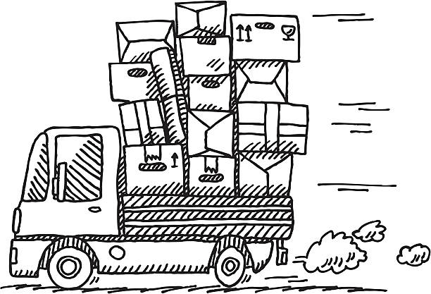 Cartoon Moving Van Drawing Hand-drawn vector drawing of a Moving Van. Concept image for Moving. Black-and-White sketch on a transparent background (.eps-file). Included files: EPS (v8) and Hi-Res JPG. transportation stock illustrations