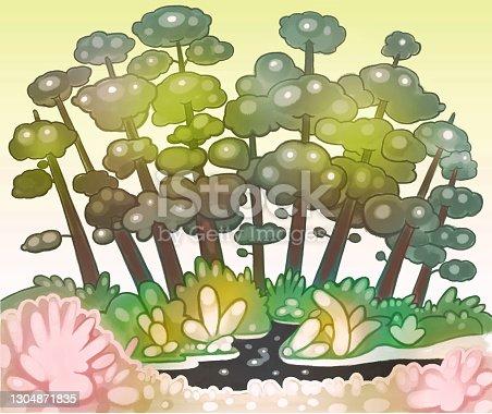 istock Cartoon Nature Landscape Colorfull Illustration Background 1304871835