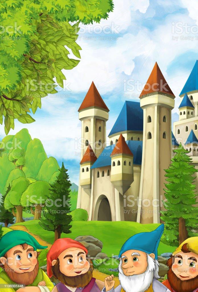 Vetores De Cena Da Natureza Dos Desenhos Animados Com O Castelo