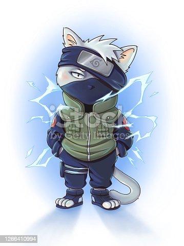 istock Cartoon ninja cat in a mask 1266410994