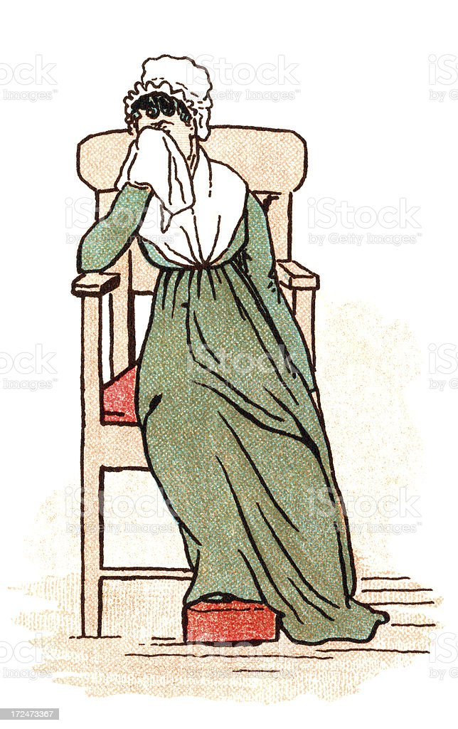 Cartoon of crying woman with head bonnet and handkerchief. royalty-free cartoon of crying woman with head bonnet and handkerchief stock vector art & more images of 1880-1889