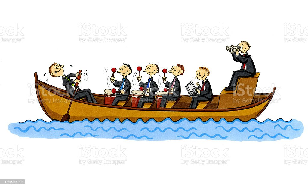 Cartoon Of Row Boat With One Employee And Five Managers ...