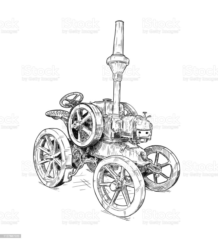 Cartoon or Comic Style Digital Drawing of Old Vintage Tractor vector art illustration