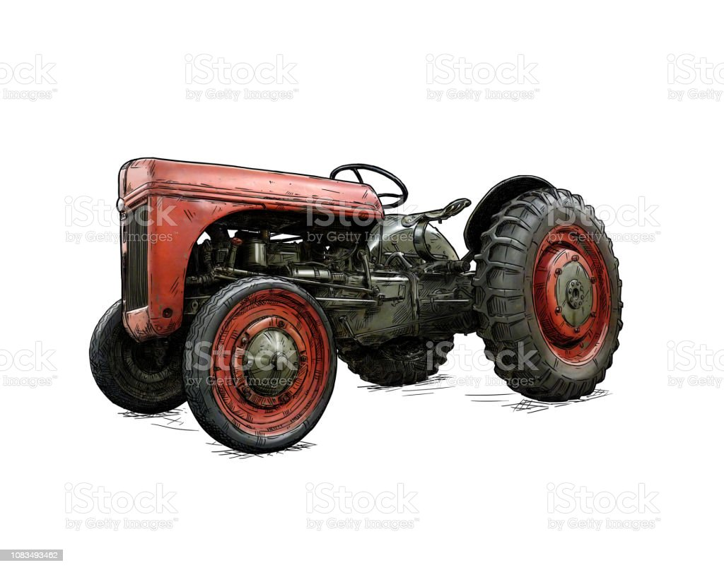 Cartoon or Comic Style Illustration of Old or Vintage Red Tractor vector art illustration