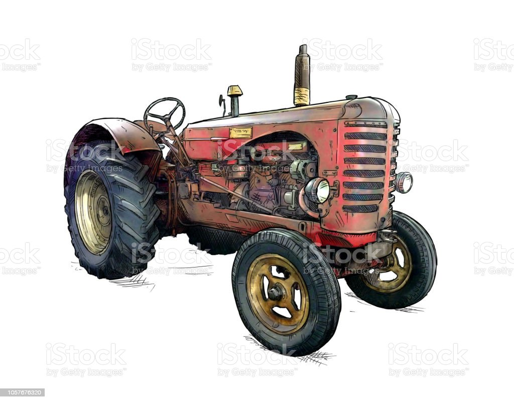 Cartoon or Comic Style Illustration of Old Red Tractor vector art illustration