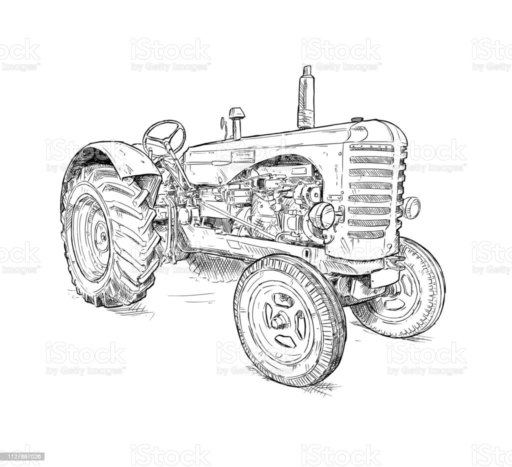 Cartoon or Comic Style Illustration of Old Tractor vector art illustration