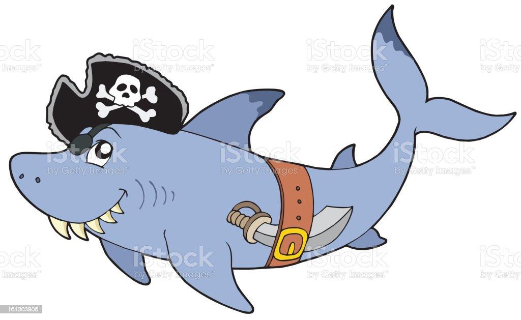 Cartoon pirate shark royalty-free stock vector art