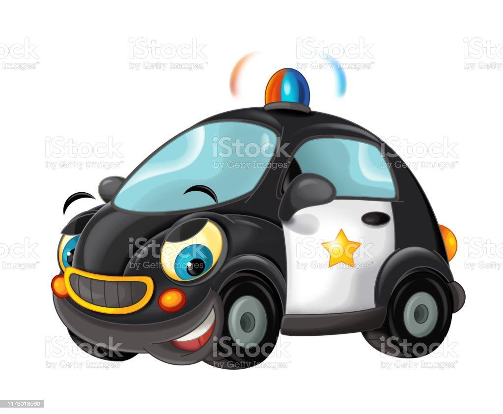 Vetores De Carro De Policia Dos Desenhos Animados Isolado No Fundo