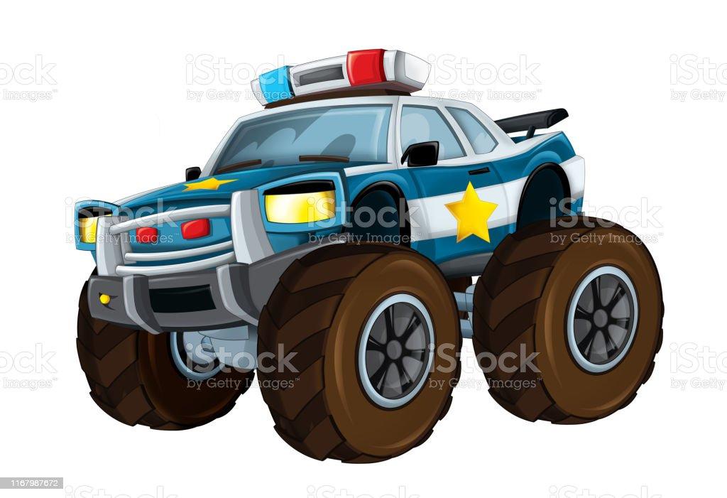 Vehicule De Police De Dessin Anime Comme Camion De Monstre Sur Le